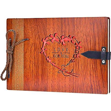 ZEEYUAN DIY Album Photo 29x19cm,Album Photo Scrapbooking 80 Pages avec 120 Photos,de Mariage Cadeau de la Saint-Valentin à la mère, au père