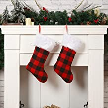 """Sattiyrch Buffalo Plaid Christmas Stockings 18"""",4 Pack Red and Black Check Stockings with Faux Fur Cuff for Xmas Holiday D..."""