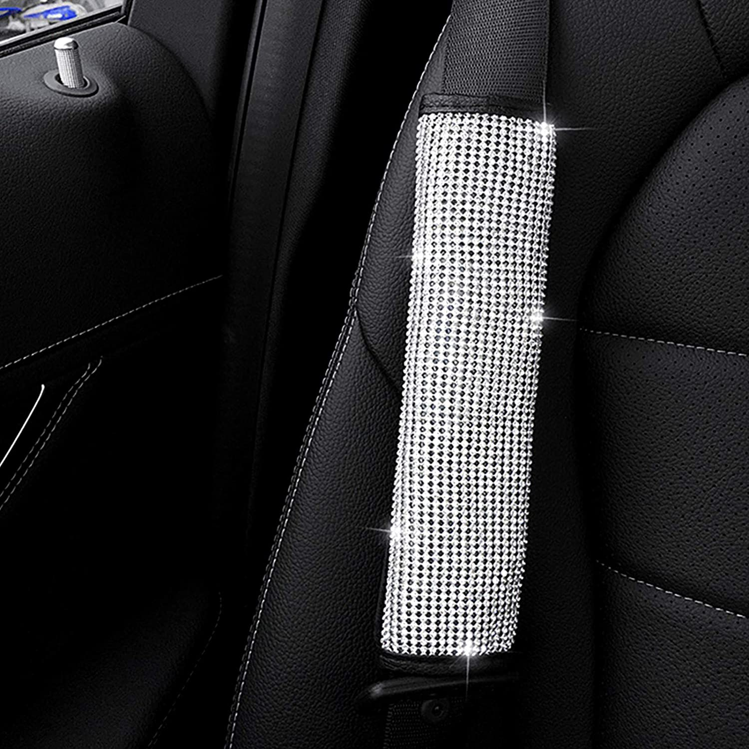 Colour Guoord 【2021 Upgraded】 Bling Soft Seat Belt Shoulder Pads with Rhinestones Car Seat Belt Covers Girls,Ladies as Gift and Accessories for Women Handmade Crystal Sparkling Car Decorations