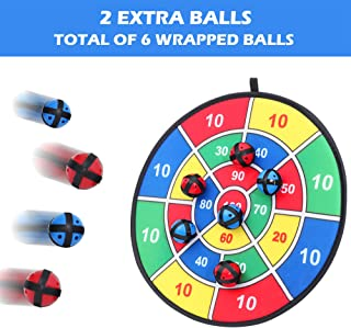 Fabric Dart Board Game with 6 Balls Using Hook-and-Loop Fasteners   Large - 14.5 Inches (37 cm) Diameter   Safe for Kids