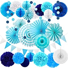 Zhanmai 25 Pieces Party Decorations Paper Fans Pom Poms Flowers Garlands String Circle Dot Triangle Bunting Flags Honeycomb Ball Party Supplies for Birthday Wedding Baby Shower (Sea Theme,Blue)
