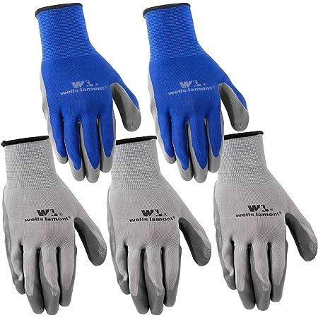 Wells Lamont Nitrile Work Gloves, 5 Pack, Large (580LA),Grey