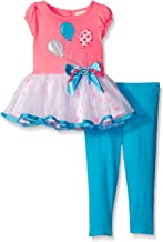 Youngland Little Girls Knit to Woven Balloon Applique Legging Set