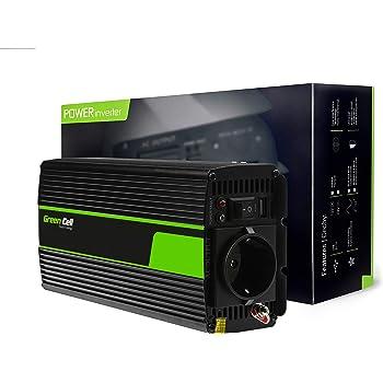 Onduleur Transformateur avec Connection USB et Pinces pour Batterie de Voiture Green Cell/® 300W//600W Pur Sinus Convertisseur de Tension DC 12V AC 230V Power Inverter sinuso/ïdale Corps en Aluminium