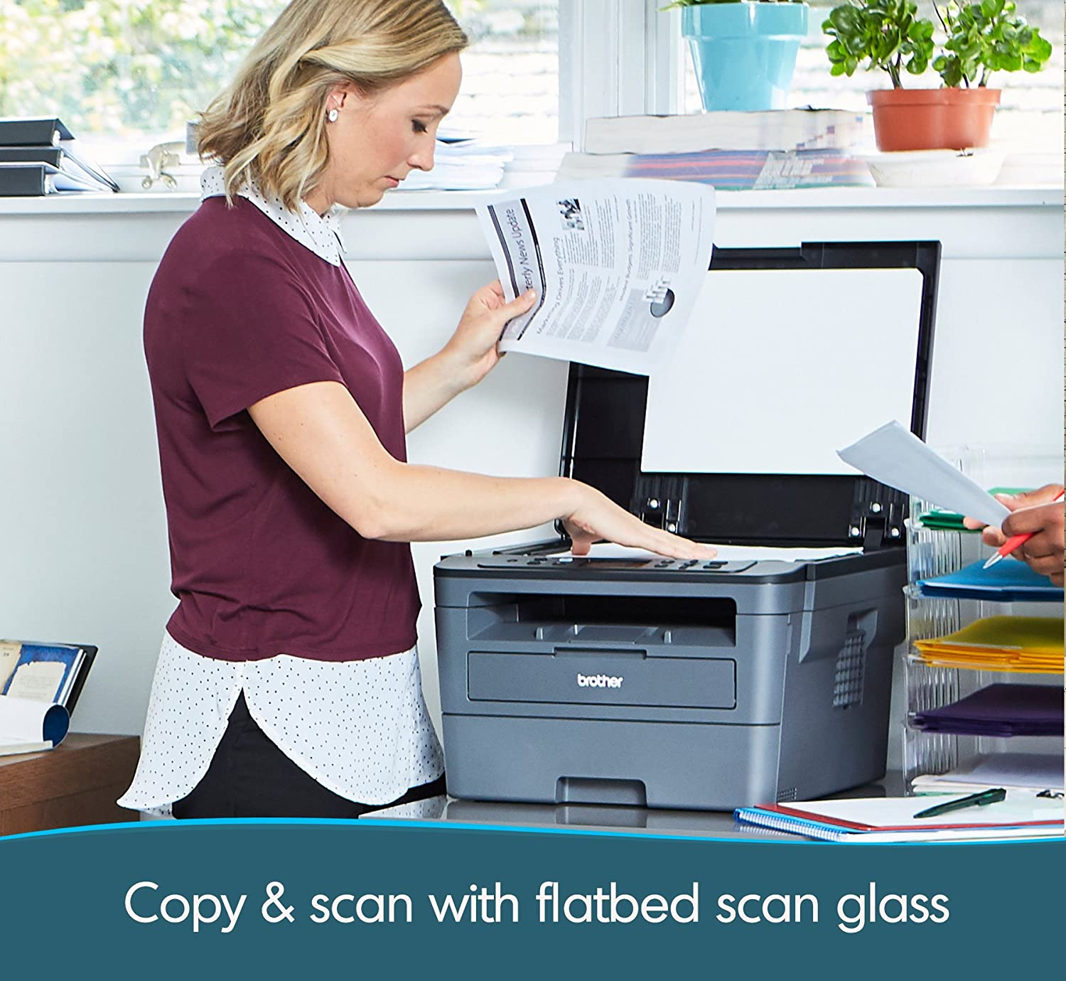 Brother HL-L23 Series Compact Wireless Monochrome Laser All-in-One Printer - Print Scan Copy - Mobile Printing - Auto Duplex Printing - Up to 32 Pages/Minute - 2-line Display + HDMI Cable