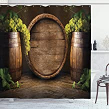 Ambesonne Winery Decor Collection, Still Life of Wine with Wooden Keg Ancient Old Fashioned Wine Keeper Tasting Scene, Polyester Fabric Bathroom Shower Curtain, 84 Inches Extra Long, Green Sienna