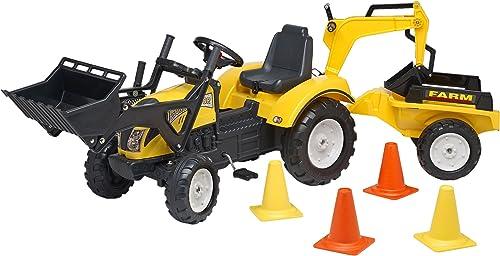Falk 0709313 Kinderfahrzeuge Traktor Set Deluxe Und Acc 3 7, gelb