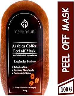 Grandeur Coffee Peel Off Mask With Arabica Coffee And Aloe vera Extracts 100g, | Deep Cleansing | Skin brightening | De-Tan |