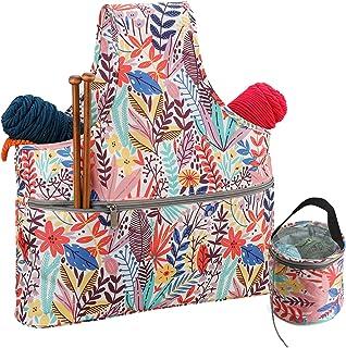 Coopay Sac Fourre-Tout de Tricot,Sac à Tricoter pour Laine et Aiguilles,Sac de Rangement pour Crochet,Tricot et Point de C...