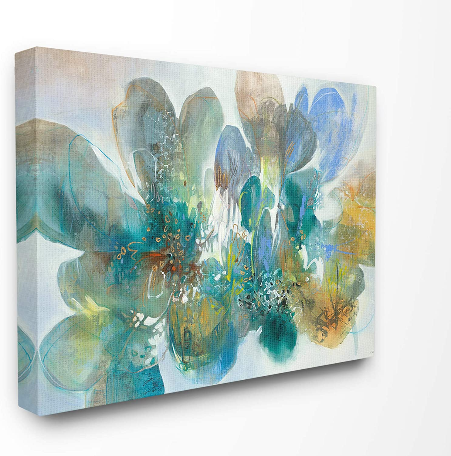 The Stupell Home Decor bluee and Green Bright Painterly Florals Stretched Canvas Wall Art, 16 X 20, Multicolor