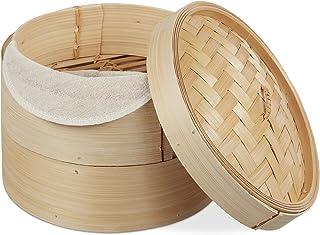 Relaxdays 10027850 Vaporera de bambú