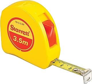 Starrett KTS12-3.5M-N ABS Plastic Case Yellow Measuring Pocket Tape, Metric Graduation Style, 3.5m Length, 12.7mm Width, 1.58mm Graduation Interval