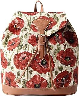Signare Tapestry Fashion Backpack Rucksack for Women with Poppy Flower Design(RUCK-POP)