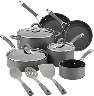 Circulon 83914 Radiance Hard Anodized Nonstick Cookware Pots and Pans Set, 9 Piece, Gray