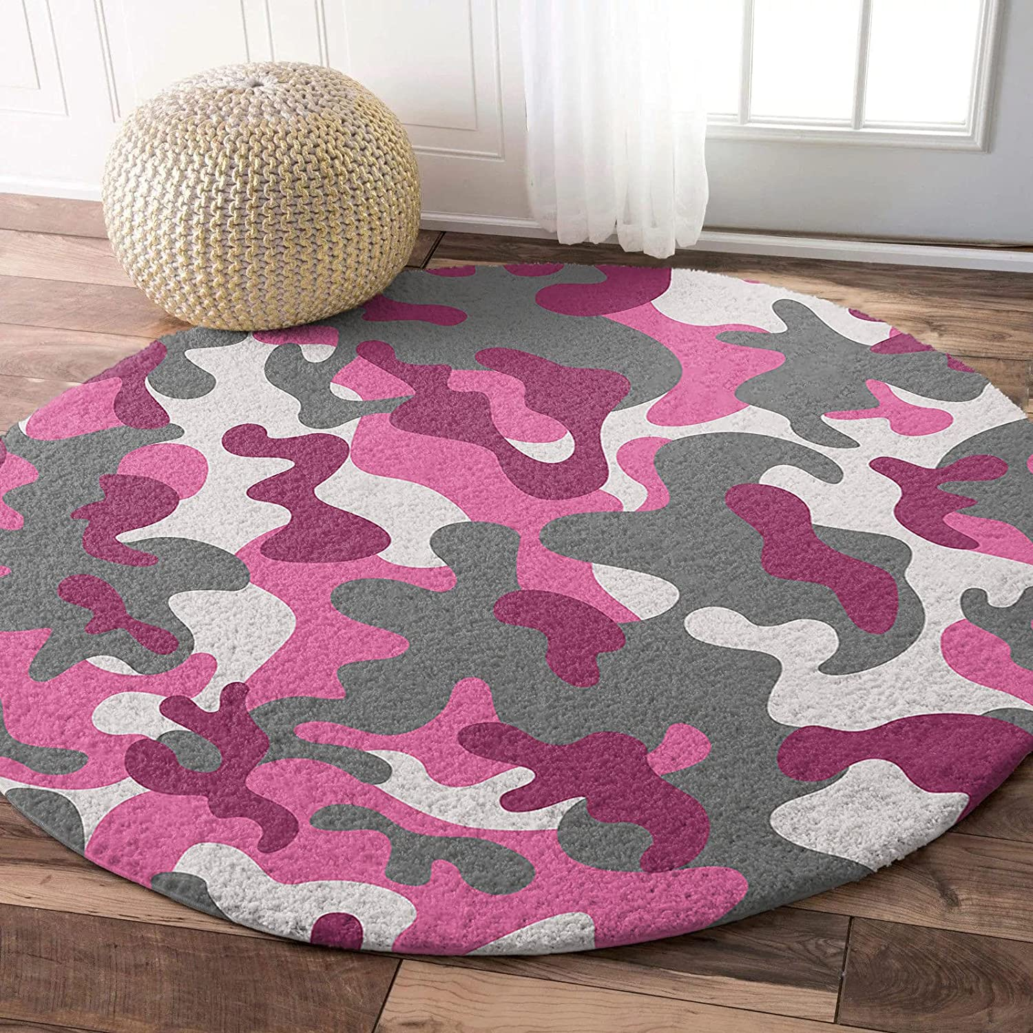 Edwiinsa Fluffy Round Area Rug Hot Very popular Pink OFFicial mail order Carpets 5ft Camouflage