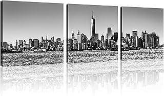 TutuBeer 3 Panel New York Skyline Wall Art New York City Skyline Black & White Prints On Canvas New York Canvas Black and ...