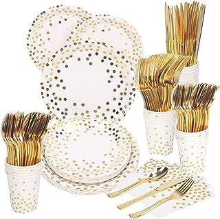 175 قطعة تخدم 25 لوازم حفلة بلون وردي ذهبي، اطباق ورقية بنمط منقط على خلفية بيضاء ومناديل واكواب للزفاف وحمام العرس وعيد ا...