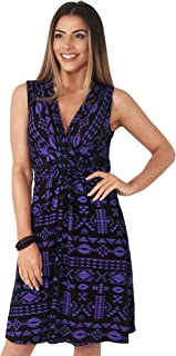 Womens Casual Stretch Knot Front V-Neck Aztec Print Tank Dress