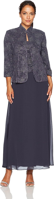 Alex Evenings Womens Petite Jacquard Knit Long Dress and MandarinNeck Jacket Dress
