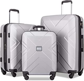 Luggage Set Expandable 3 Piece Sets with TSA Lock, Lightweight Hardside Luggage with Spinner Wheels [X-Cellection] (Silver)