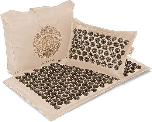 Acupressure Mat and Pillow Set - Natural Organic Linen Cotton Acupuncture Mat & Bag - Back Pain Relief, Neck Pain Rel...