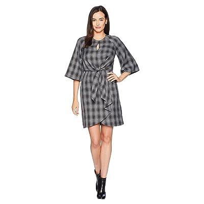 Tahari by ASL Short Sleeve Dress with Tie Waist (Charcoal/Black) Women