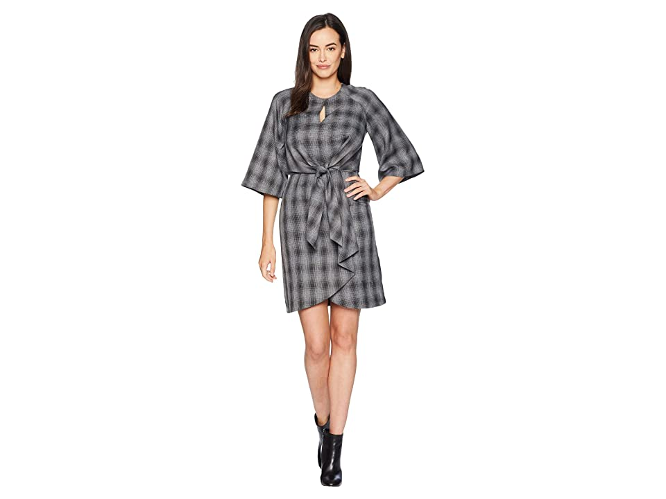 Tahari by ASL Short Sleeve Dress with Tie Waist (Charcoal/Black) Women