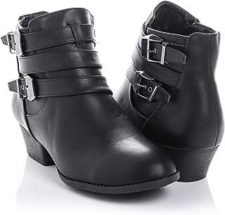 Bellmora Women's Payton Boot Side Zip High Block Heel Ankle Booties