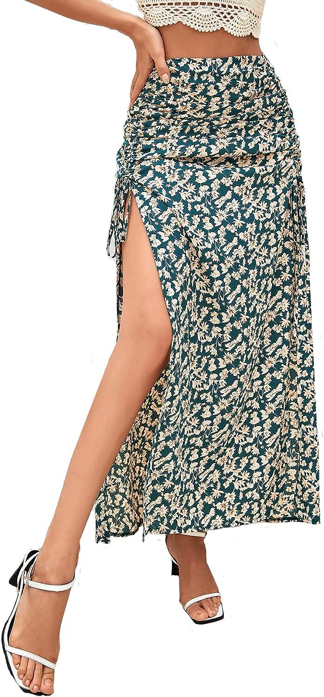 MakeMeChic Women's Casual Floral Print Drawstring Split Hem High Waist Maxi Skirt