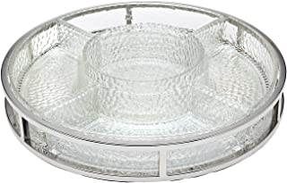 Shannon Crystal Galleria Glass and Metal Serving Set