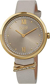 Burgi Swarovski Crystal Women's Watch - Sunray Dial with 60 Swarovski Crystals - Slim Leather Strap with Cute Crystal Tab- BUR264