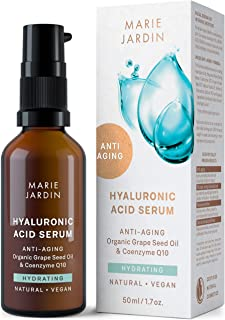 Hyaluronic Acid Serum highly dosed with Q10 and Vitamin C, vegan, 50 ml, scientifically proven anti-aging effects – organic natural cosmetics by Marie Jardin