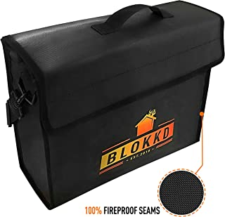BLOKKD Fireproof Document Bags - Fire Proof Safe Lock Box Bag - Waterproof Storage Safety for Files, Money, Passport, Jewelry, Valuables - 13 x 16 x 5 inches