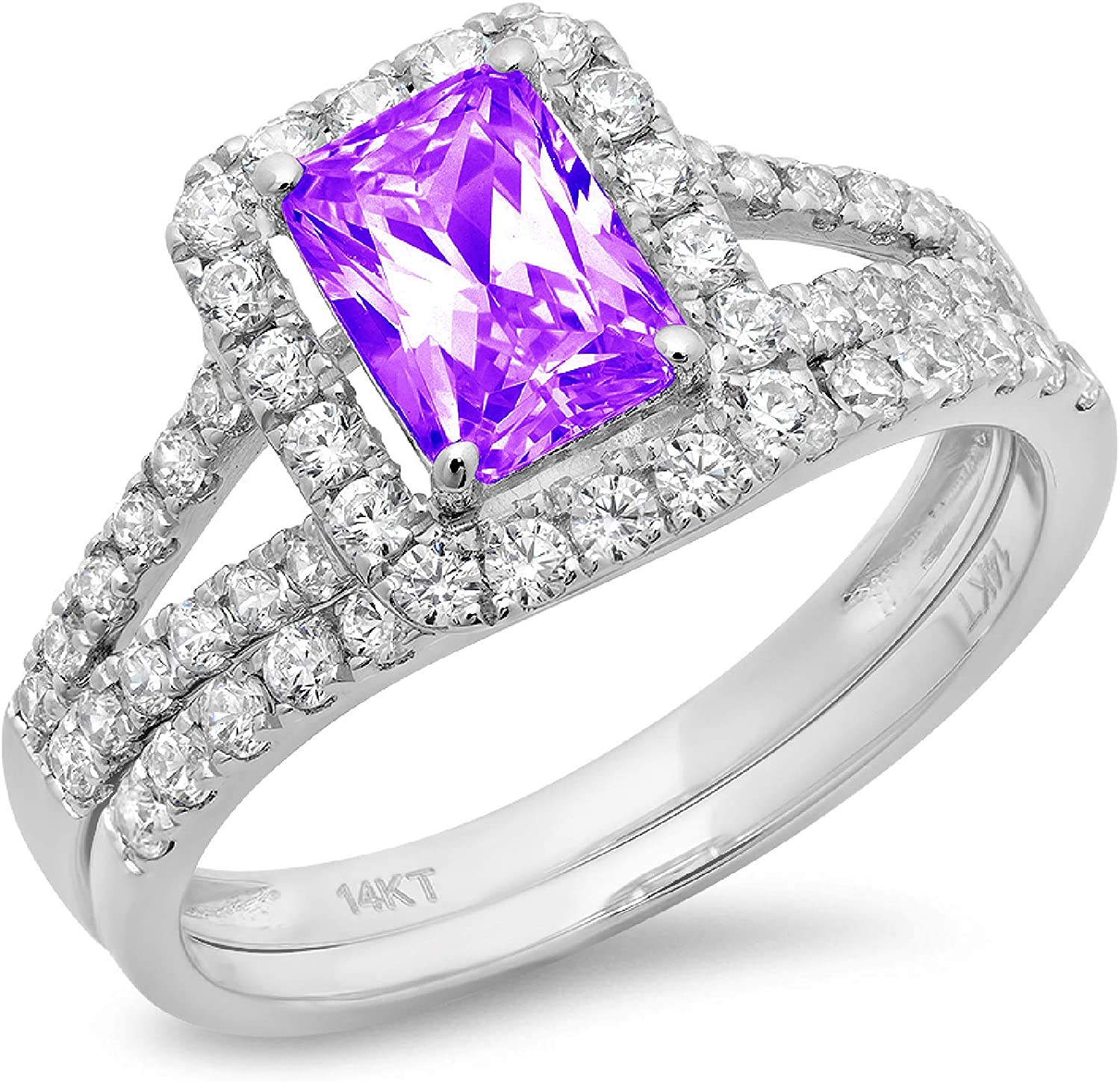 1.60ct Emerald Round Cut Pave Halo Split Shank Solitaire Accent Natural Purple Amethyst Engagement Promise Statement Anniversary Bridal Wedding Ring Band set 14k White Gold