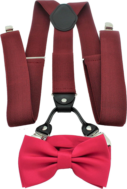 Men's Burgundy Suspenders Bow Tie Set Y Shape Elastic Formal Events