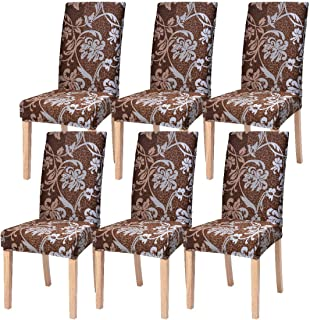 SearchI Dining Room Chair Covers Slipcovers Set of 6, Spandex Fabric Fit Stretch Removable Washable Short Parsons Kitchen Chair Covers Protector for Dining Room, Hotel, Ceremony (Brown, 6 per Set)