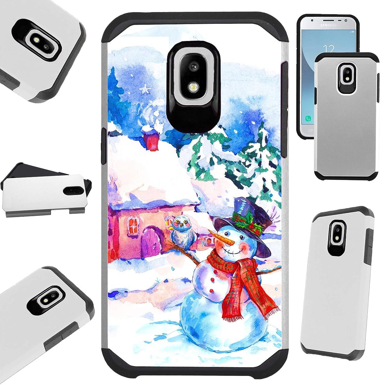 Compatible Samsung Galaxy J7 (2018) | J7 Aero | J7 Top | J7 Star | J7 Crown Case Hybrid TPU Holiday Phone Cover (Snow Man House)