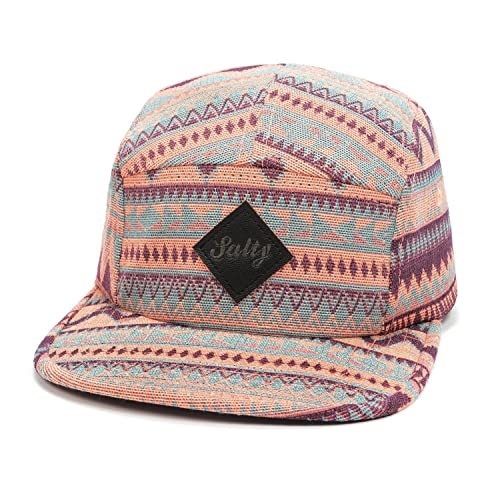 GOLDTOP Fair Isle Pattern Multi Color Stripe Salty 5 Panel Hat Large Pink Orange
