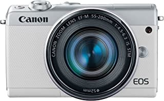 Canon EOS M100 Mirrorless Camera w/ 15-45mm Lens and 55-200mm Lens - Wi-Fi, Bluetooth, and NFC Enabled (White)