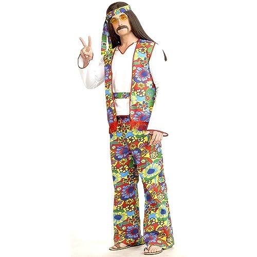 Hippie Dippie Man Plus Size Adult Costume 1X 2X 60s 70s Flower Halloween