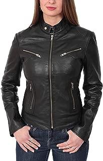 HOL Ladies Genuine Leather Biker Style Slim fit Casual Jacket Khloe Black