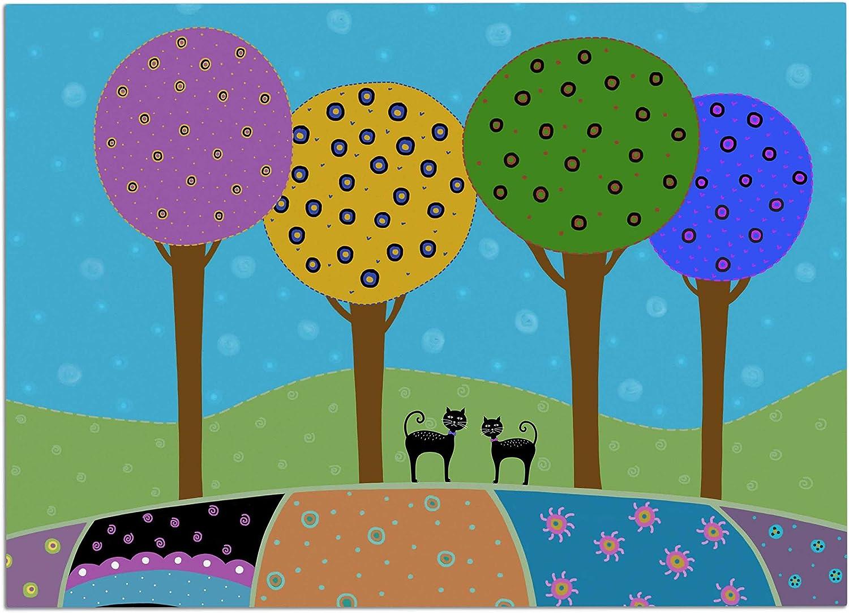 KESS InHouse Cristina Bianco Design Cute Baby Deer Illustration bluee Green Dog Place Mat, 24 x15