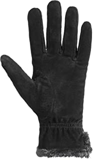 Women's Genuine Suede Cold Weather Gloves with Warm, Soft Lining