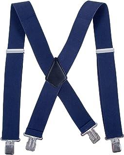 Men Utility Suspenders Adjustable Elastic - Heavy Duty 2 Inch Wide X Shape Strong Clip Suspender (Navy blue)