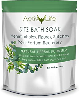 Sitz Bath Soak: Provides Soothing Treatment for Hemorrhoids, Fissures & Postpartum Care | Contains 8 Natural & Organic Ingredients to Cleanse & Provide Relief from Swelling, Itching, and Severe Pain