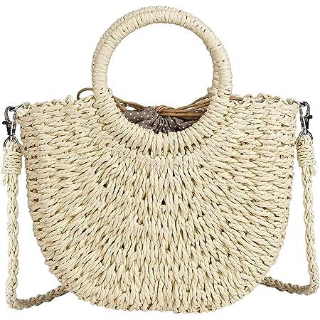 RZKJ-SHOP Sommer Stroh Handtasche Damen Handgewebte Tasche, Runder Top Griff Retro Strand Umhängetasche Boho Crossbody für Frauen Reisen Urlaub