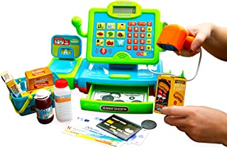 Think Gizmos Interactive Cash Register Toy for Boys and Girls Aged 3 4 5 6 – Pretend Play Toy Shopping Cash Register Set with Scales, Scanner, Money, Food and Shopping Basket - TG802