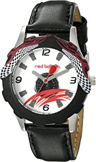 Red Balloon Kids' W000345 Speed Racing Tween Stainless Steel Printed Bezel Black Leather Strap Watch