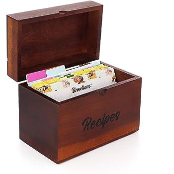 Caja Madera de Acacia para Recetas AKND Gourmet con Divisores, Tarjetas de Recetas en Blanco y una Guía de Conversión de Medidas para esas Recetas y Momentos Especiales: Amazon.es: Hogar