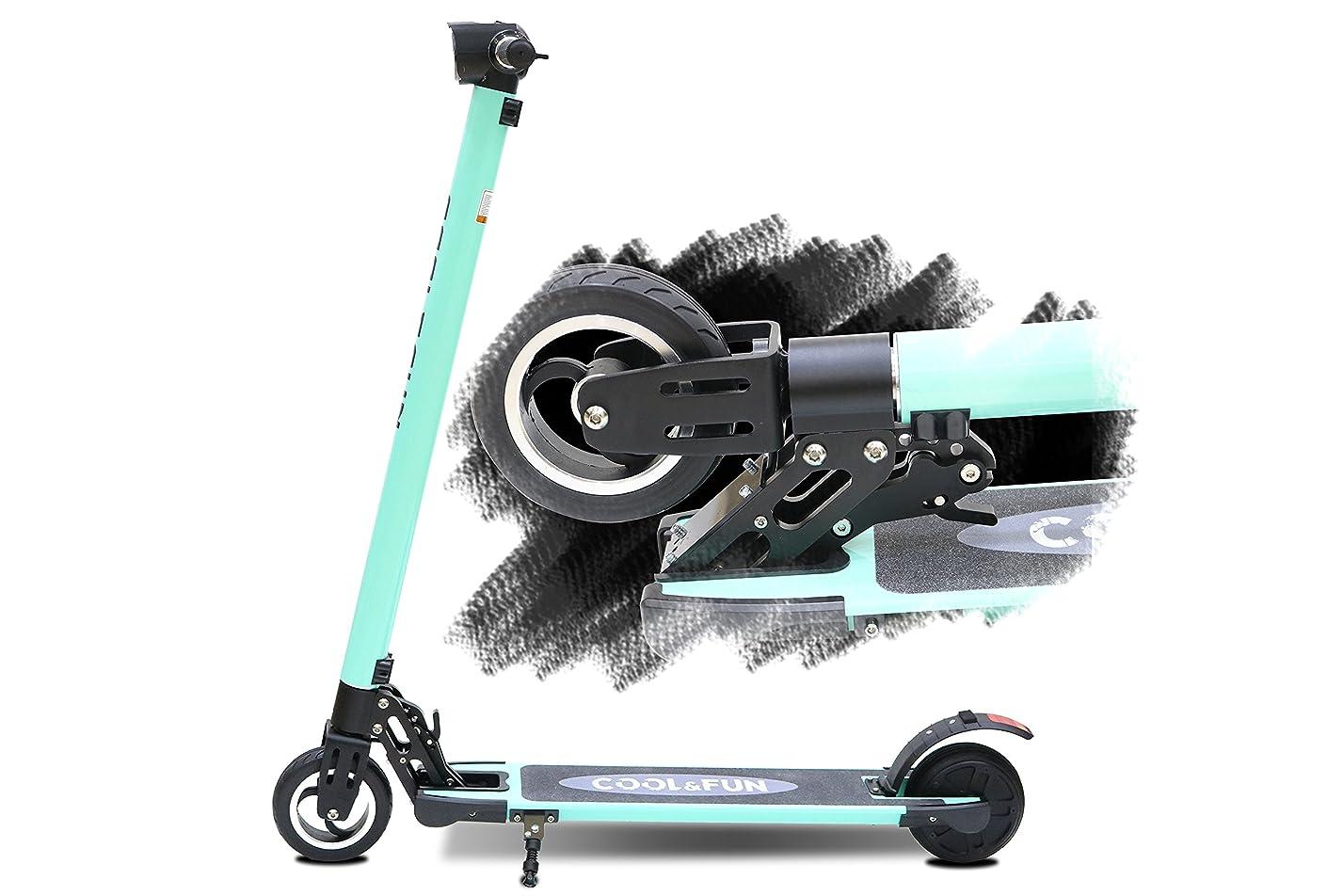 ラバすすり泣き落ちたCool&Fun 電動 キックボード キックスクーター 電動 スケーター カーボン製 LEDライト搭載 最高時速20キロ 折りたたみ 立ち乗り式 大人用 全て3色 (グリン)